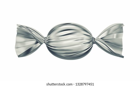 Candy in silver wrapper isolated on white. 3D rendering with clipping path