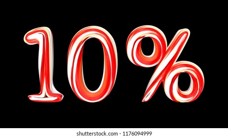 Candy text 10 % on black background. Brushstroke red-white text of 10 percent . 3d render illustration
