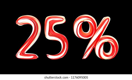 Candy text 25 % on black background. Brushstroke red-white text of 25 percent . 3d render illustration