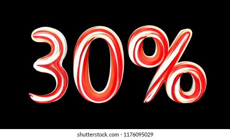 Candy text 30 % on black background. Brushstroke red-white text of 30 percent . 3d render illustration