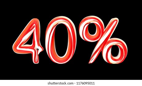 Candy text 40 % on black background. Brushstroke red-white text of 40 percent . 3d render illustration