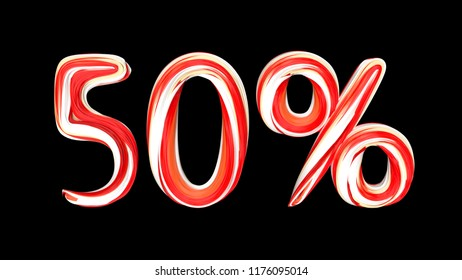 Candy text 50 % on black background. Brushstroke red-white text of 50 percent . 3d render illustration