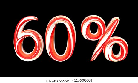 Candy text 60 % on black background. Brushstroke red-white text of 60 percent . 3d render illustration