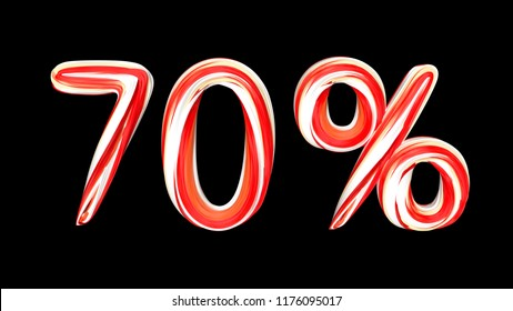 Candy text 70 % on black background. Brushstroke red-white text of 70 percent . 3d render illustration