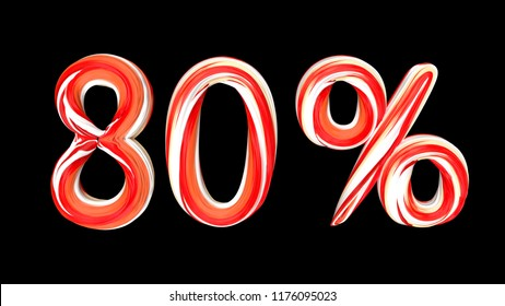 Candy text 80 % on black background. Brushstroke red-white text of 80 percent . 3d render illustration
