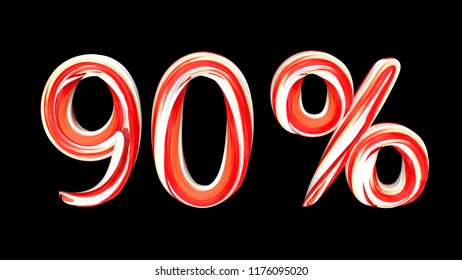 Candy text 90 % on black background. Brushstroke red-white text of 90 percent . 3d render illustration