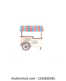CandyFloss cart watercolor illustration
