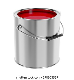 Canister with red paint isolated on white background