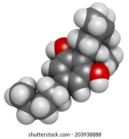 Cannabidiol (CBD) cannabis molecule. Has antipsychotic effects. Atoms are represented as spheres with conventional color coding: hydrogen (white), carbon (grey), oxygen (red).