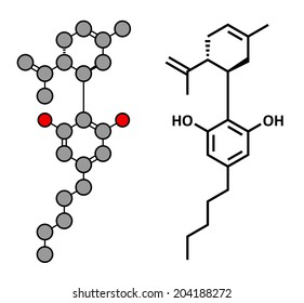 Cannabidiol (CBD) cannabis molecule. Has antipsychotic effects. Stylized 2D rendering and conventional skeletal formula.