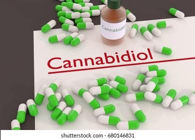Cannabidiol header abstract 3d illustration