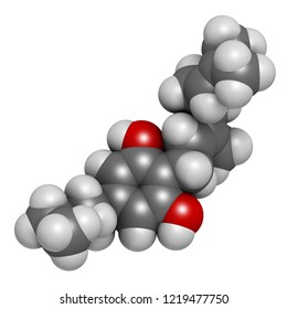 Cannabigerol cannabinoid molecule. 3D rendering. Atoms are represented as spheres with conventional color coding: hydrogen (white), carbon (grey), oxygen (red).