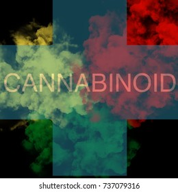 Cannabinoid text on green yellow green smoke background,cannabinol for medical concept