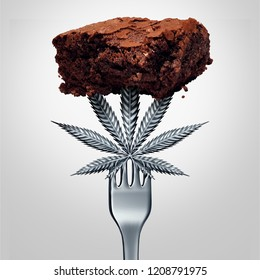 Cannabis brownie edible or marijuana edibles snack with a leaf representing pot baked good herbal food infused with psychoactive medicinal ingredient with 3D illustration elements.