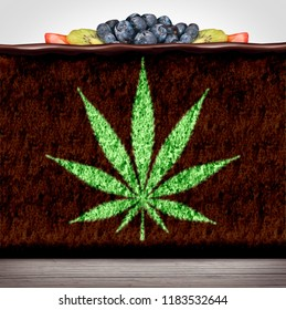 Cannabis edibles or marijuana edible brownie or cake snack with a leaf representing hemp baked good herbal food infused with psychoactive medicinal ingredient in a 3D illustration style.