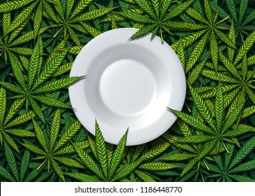 Cannabis food and weed edibles or marijuana edible snack with a dinner plate on leaves representing hemp herbal meal infused with psychoactive medicinal ingredient with 3D illustration elements.