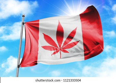 Cannabis legalization in Canada concept with a Cannabis icon flag waving.
