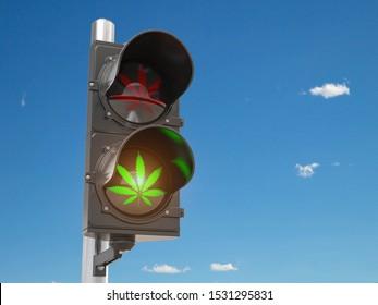 Cannabis and marijuana legalization concept.  Symbol of cannabis leaf on green traffic light. 3d illustration