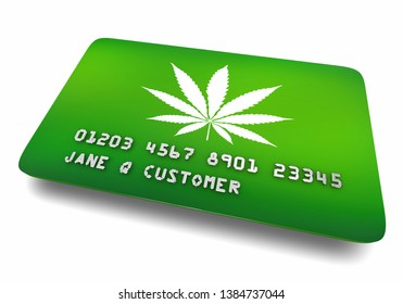Cannabis Marijuana Pot Weed Green Credit Card 3d Illustration