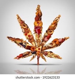 Cannabis munchies and marijuana hunger for increased cravings for snacks and increased appetite due to smoking weed or pot products containing THC with 3D illustration elements.