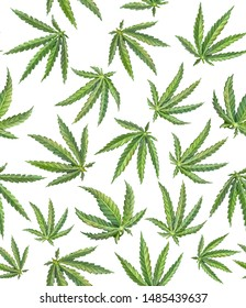 Cannabis Plant Pencil Drawing Seamless Pattern