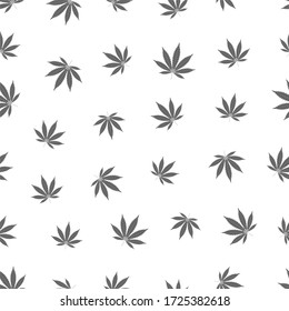 Cannabis seamless pattern. Marijuana leaf, gray weed plant. Hashish texture, isolated white background. Hemp psychedelic grass. Fabric print for medical wallpaper. Simple design. illustration