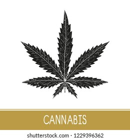 Cannabis. Sheet. Black silhouette on white background. Sign, symbol, logo, emblem.