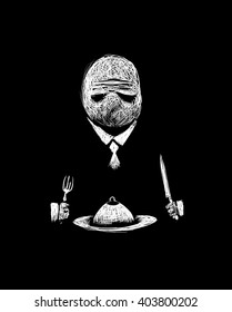 Cannibal. A man in a suit having dinner. Black and white digital illustration