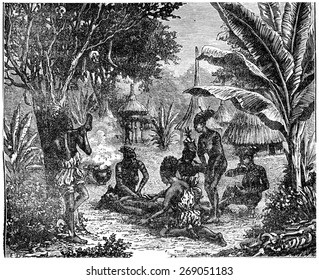 Cannibals of Central Africa in 1870, vintage engraved illustration. Earth before man  1886.