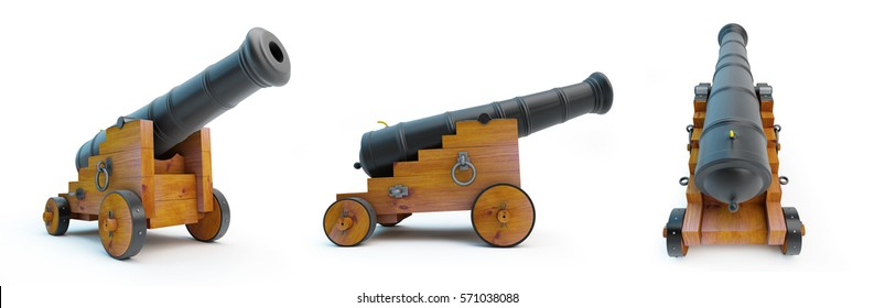 cannon old set on a white background 3D illustration