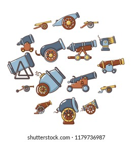 Cannon retro icons set. Cartoon illustration of 16 cannon retro icons for web