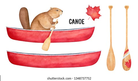 Canoe sport equipment set with funny beaver character, colorful boat and paddle colection. Hand painted watercolour drawing on white background, cutout symbol clipart elements for design decoration.