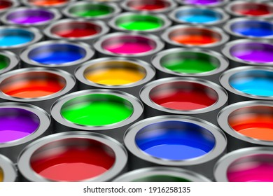 cans with colour. 3D illustration