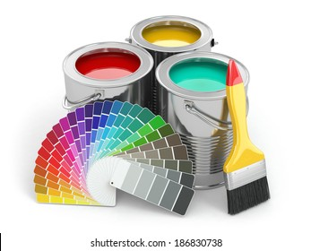 Cans of paint with colour palette and paintbrush. 3d