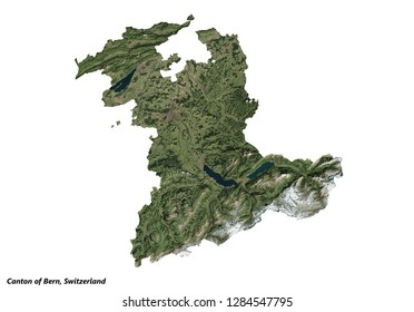 Canton of Bern, Switzerland  Map (3D illustration)
