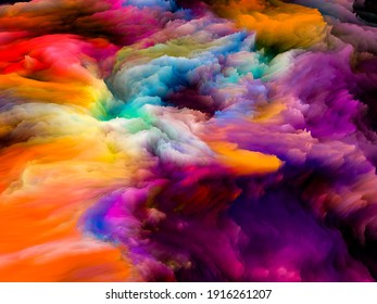 Canvas Up Close series. Backdrop design of 3D rendering of colorful fractal paint for works on design, creativity and art
