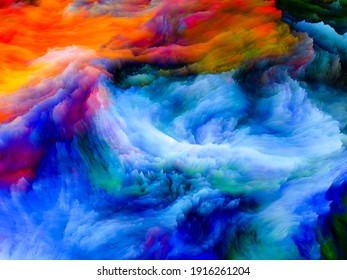 Canvas Up Close series. Composition of  3D rendering of colorful fractal paint for projects on design, creativity and art