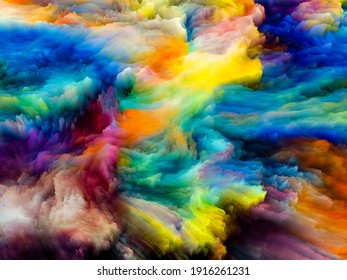 Canvas Up Close series. Creative arrangement of 3D rendering of colorful fractal paint for projects on design, creativity and art