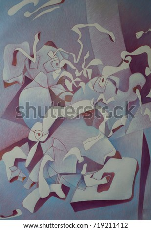 Canvas Oil Composition That Performed Overcoming Stock Illustration