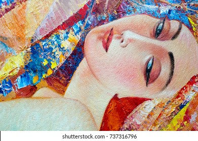 Canvas, oil. Painting painted by the artist. The painting is called Delight. Portrait of a Woman, Armenian Woman.
