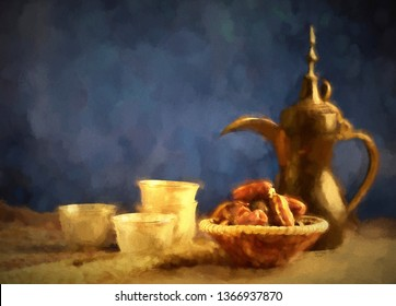 Canvas painting with Middle Eastern rustic food still life. Old Dallah, dates and coffee cups. Still life in classic canvas oil-painting.