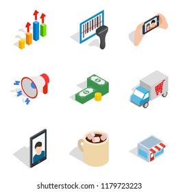 Capable female icons set. Isometric set of 9 capable female icons for web isolated on white background
