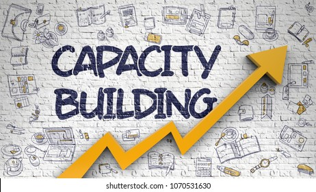 Capacity Building Drawn on White Brickwall. Illustration with Doodle Icons. Capacity Building Inscription on Modern Style Illustation. with Orange Arrow and Doodle Icons Around. 3d