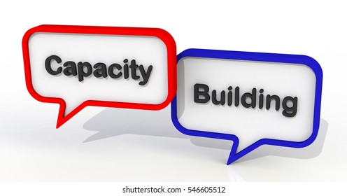 Capacity Building, message on speech bubble, 3D rendering