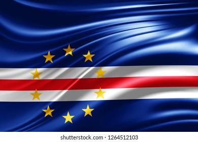 Cape Verde flag of silk -3D illustration