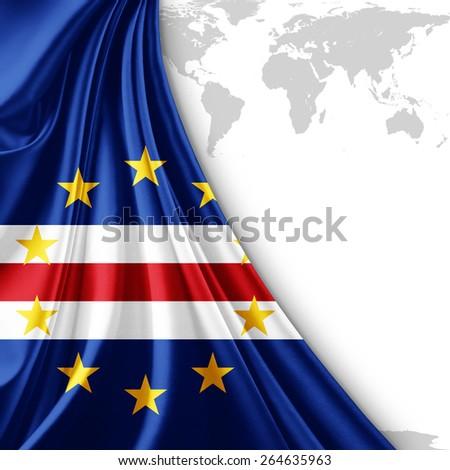 Cape Verde Flag World Map Background Stock Illustration 264635963