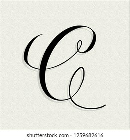 Capital C in copperplate style on textured paper illustration for branding and packaging