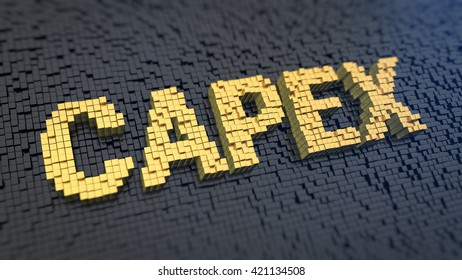 Capital expenditure. Acronym CAPEX of the yellow square pixels on a black matrix background. 3D illustration jpeg
