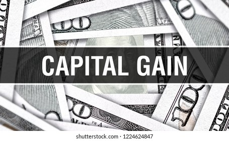 Capital Gain Concept Closeup. American Dollars Cash Money,3D rendering. Capital Gain at Dollar Banknote. Financial USA money banknote Commercial money investment profit concept