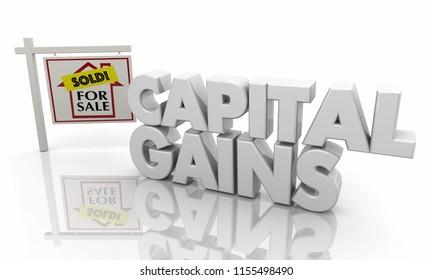 Capital Gains Home for Sale Sign 3d Illustration